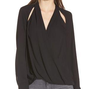 Trouve black surplice draped blouse